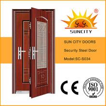 Steel Door Frame Single Door Metal Almirah Steel Grill Door Design (SC-S034)