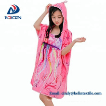 2018 china 100% cotton velour reactive printing hooded poncho towel