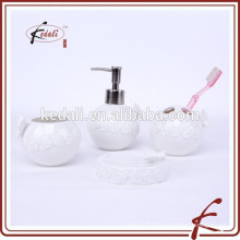 White Round Emboss Ceramic Bathroom Accessory Set