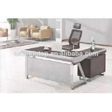 Mesa de despacho de cristal negro, Escritorio de muebles de vidrio para oficina, Mueble de oficina de alta calidad