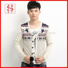 Ugly sweater with reindeer and snowflake christmas men cardigan