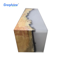 Opal color 50 mm Individuality Resin walnut wooden epoxy resin stool