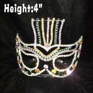Coroas de cristal do concurso de carnaval com máscara em forma