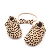 Handgemachte Bowknot Stirnband Leopard Baby Mokassins