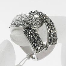 Rhodium Plated wedding high-end fashion metal Rings female Crystal Rings wholesale