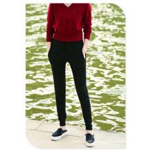 Pantalones casuales de punto de cachemir puro con bolsillos y banda de cintura elástica para damas