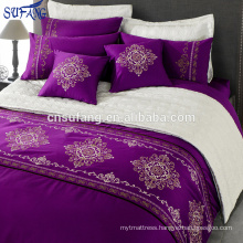 Alibaba China suppliers 300TC cotton purple embroidery bedding set
