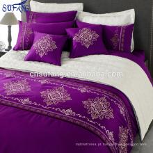 Alibaba China fornecedores 300TC algodão roxo bordado conjunto de cama
