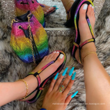 hot sale rhinestone sandals with matching bag sets diamond purse sets flat women shoe and bag jelly shoes