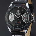 winner multicolor men alloy watch with sub-dial design leather band