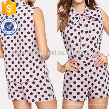 Polka Dot Tie Neck Top And Zip Up Shorts Set Manufacture Wholesale Fashion Women Apparel (TA4032SS)