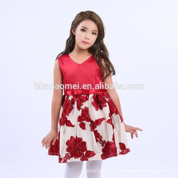 2017 Trending Products Boutique Colorful Flower V Neck Diseños de vestidos de niños para niña de 6 años con el mejor precio