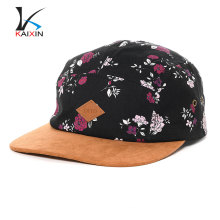 Embossed floral flower printing 5 panels caps and hats with leather patch