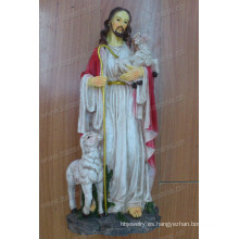 Venta al por mayor sosteniendo popular la cruz de Jesús Escultura de resina para la decoración religiosa