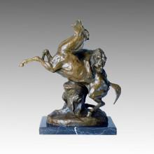 Estatua de animal León y caballo de guerra de bronce Sculpure Tpal-139