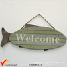 """Pescado """"Bienvenido"""" Vintage Suspensión Antiguo Pintado Madera Signo"""