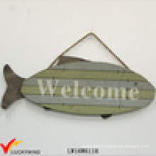 "Fish ""Welcome"" Vintage Hanging Antique Painted Wood Sign"