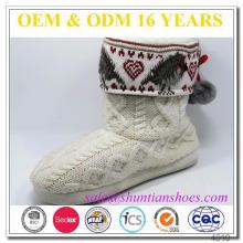 Bota hecha a mano del calcetín del deslizador de la bota hecha a mano del hogar de la bota hecha a mano de las mujeres