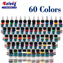Solong 1 OZ 30ml/Bottle 60 Colors Permanent Body Tattoo Ink Pigment Set