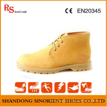 Yellow Nubuck Leather Goodyear Welt Safety Shoes RS733
