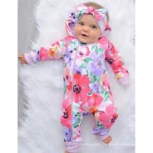 Watercolor Floral Print Baby Onesie Baby Long Sleeves Crawling Suit