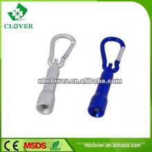 Promoción regalo mini linterna de aluminio con mosquetón