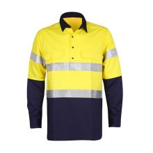 AS / NZS amarelo e azul reflexivo camiseta camisa de segurança de uniforme de trabalho de broca
