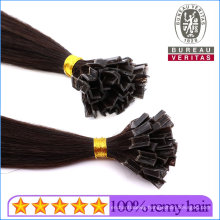 "18"" Straight Black Human Virgin Remy Hair Double Drawn Brazilian Ponytail Hair Extensions V-Tip Hair"