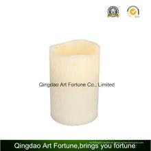 Gran Beige Bisque LED iluminado con pilas Vela sin llama del pilar perfumado vainilla de la cera