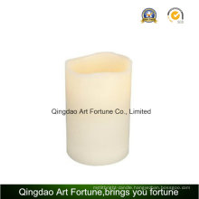 Large Beige Bisque LED Lighted Battery Operated Flameless Wax Vanilla Scented Pillar Candle
