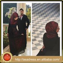NSM-15 negro y rojo de color rosa patrón árabe vestidos de noche de manga larga vestido de encaje para las mujeres musulmanas
