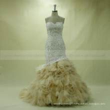 Graceful Sweet Heart Fish Cut Rose Ruffle Tiered Chapel Train Champagne Lace Wedding Dress