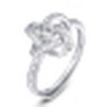 Damenmode 925 Sterling Silber Eröffnung Ring Inlay Crystal
