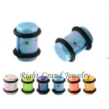 Unique Design Neon Color 10 Gauge Splatter Acrylic Ear Plug
