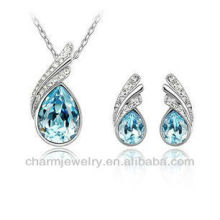 Small Goby Blue Fashion Set Austria Crystal Teardrop Fashion Earrings Pendant Necklace PS-002