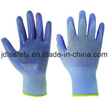 Nylon de malha luvas de trabalho com nitrilo liso, mergulho (N1569C)