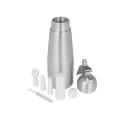 Wholesale aluminum 1 Pint whip cream dispenser with round shape metal top and decorative nozzles and brush