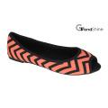 Women′s Shoes Peep-Toe Printed Fabric Flat Ballet