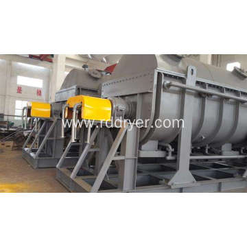 Drying machine for digestate sludge hollow blades paddle dryer