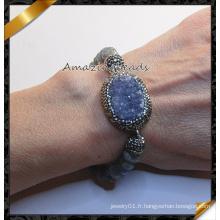 Bracelets en pierre de druzy de mode avec des perles de pavé en cristal d'argile (CB019)