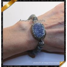 Moda Druzy Pedra Braceletes com Crystal Clay Pave Beads (CB019)
