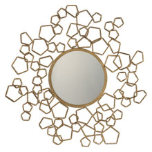 Espejo decorativo de pared redonda de metal creativo / marco de espejo de oro antiguo