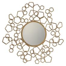 Miroir décoratif de mur encadré par métal rond créatif / cadre antique de miroir d'or