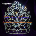 8inch Flower Shaped All Clear Crystal Crowns