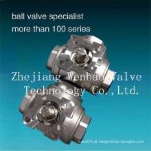 Válvula de esfera de 3 vias de aço inoxidável com porta reduzida