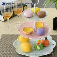Bleu et rose Design coloré Forme jolie Hot Sale Cheap Dessert Plate, Restaurant Ceramic Three Layers Plates