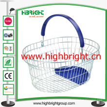 Plastic Handle Metal Wire Shopping Basket with Plastic Tray