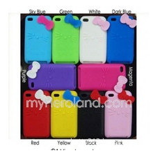 Hello Kitty Bowknot Soft Silicone Back Cover Case for iPod Touch 4G, (10240310)