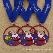 Benutzerdefinierte Ribbon Metal Santa Run Medaille mit blauer Farbe