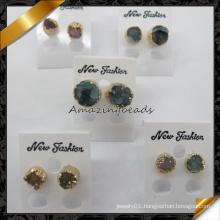 New Hot Round Shape Stud Agate Point Quartz Druzy Earrings (FE075)